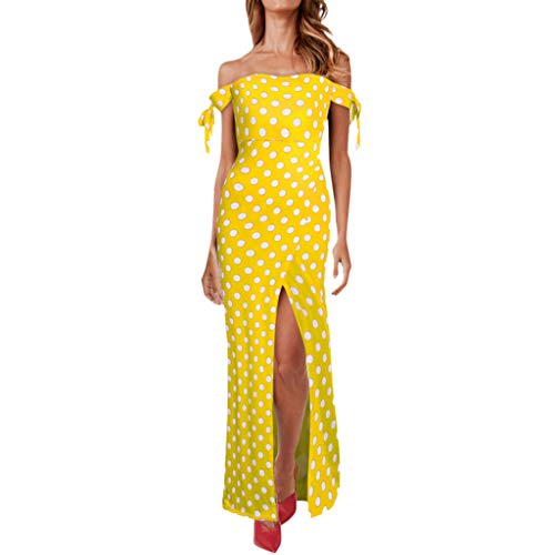 ❤️Sumeimiya Women's Dot Print Dress, Elegant Off Shoulder Sleeveless Long Dress Ladies Stylish Fancy Party Dress Yellow