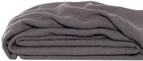 Eddie Bauer 200610 Herringbone Cotton Blanket, Full/Queen, Mushroom Signature Plush Receiving Blanket