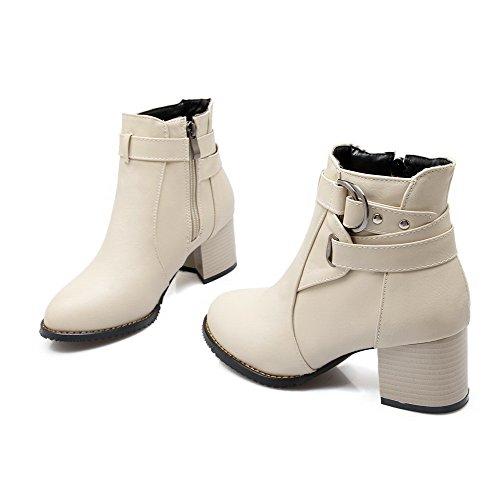Allhqfashion Women's PU Low-top Solid Zipper Kitten-Heels Boots Beige BdDEDab
