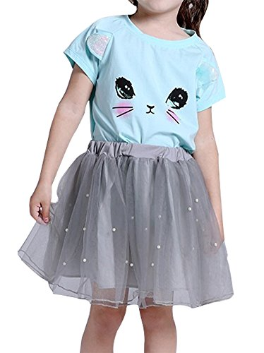 BomDeals Adorable Cute Toddler Baby Girls Clothes Set,Long Sleeve T-Shirt +Pants Outfit (Age(3T), Blue-C)