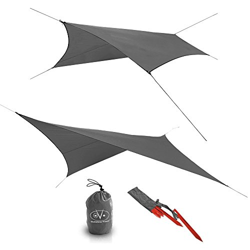 Outdoor Vitals - Ultralight Tarp for Hammock/Shelter - 20D Silpoly (Charcoal, Scout (4 Sided))