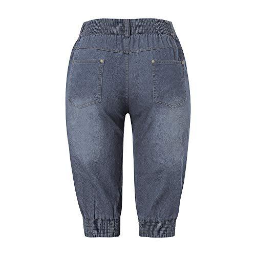 de Gris Large Femme Femmes pour Bande de Largeur Unie Dcontracts Solide Beikoard Pantalon Pantalon avec de Couleur Jeans Large Cowboy F1BB8x