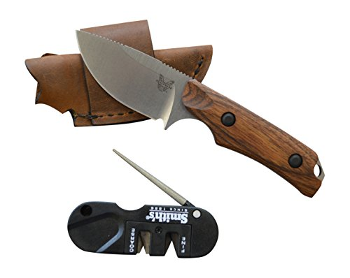 Benchmade HUNT 15016-2 Small Skinning Knife w/ Dymondwood Handles and Leather Sheath Includes FREE Smith's Sharpener!!