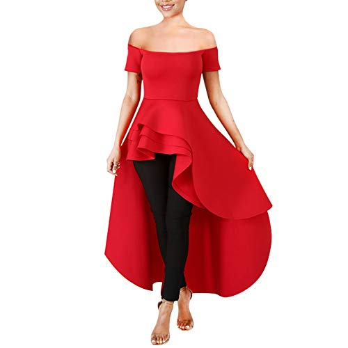 (High Low Top for Women - Ruffle Off Shoulder Sleeveless Bodycon Peplum Shirt Dresses Red)
