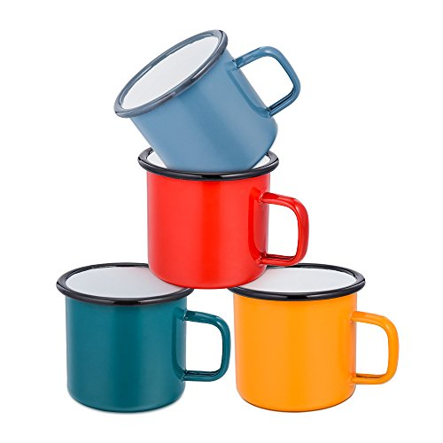 Coffee Mug, E-far 12 Ounce Enamel Coffee Tea Camping Cup Mugs, Red / Yellow / Blue / Green, Healthy & Bright Colors - Set of 4