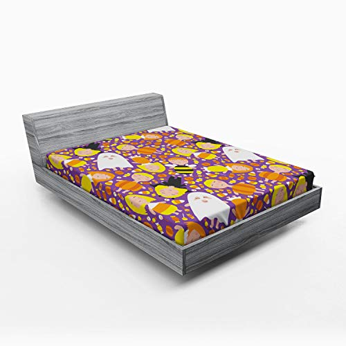 Ambesonne Ghost Fitted Sheet, Cheerful Kids in