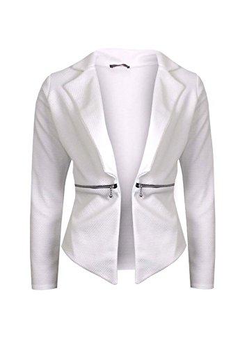 Rimi Hanger Womens Waffle Fabric Waterfall Blazer Jacket Ladies Long Sleeve Zip Jacket Top Cream S/M US 4-6