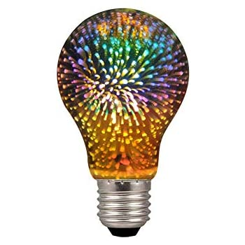 Century Light - A19/A60 4W LED 3D Colorful Star Fireworks Light Bulb(2200K), E26 Base Edison Bulb Light for Holiday Home Bar Decoration Multicolor LED Lamp