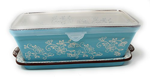 Temp-tations Loaf Pan w/ Plastic Cover & Lid-it(Tray) 1.0 Quart, 8 inch x 4.5 inch, Stoneware (Floral Lace Light Blue)