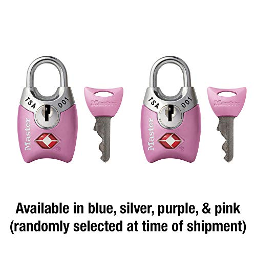 41vpJ2poUPL - Master Lock 4689T Keyed TSA Accepted Luggage Lock, 2 Pack, Assorted Colors