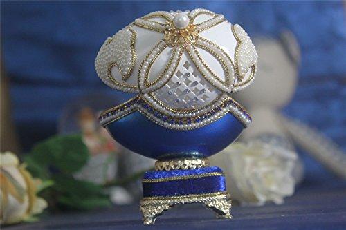 - Dlue Flower Music Box For Girls Easter Egg Artists Musicbox Eggshell Art Pearl Jewelry Box