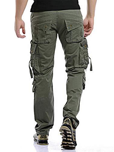 Largo Carga De Trabajo Bolsillos De Ropa Pantalones Khaki para Libre Hombres Gris Cierre Algodón Al Laterales Aire con Pantalones Pantalones xqpw5YCS