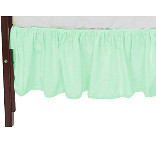 Babydoll Bedding 3 Piece Daycare Compact Crib Skirt, Mint Green, 24
