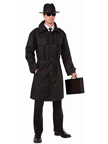 Forum Novelties Men's Secret Agent Spy Trench Coat, Black, One Size -