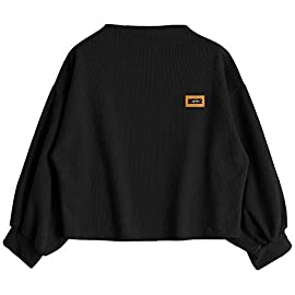 2019 New Japanese Womens Long Sleeve Letter Decal Sweatshirt Blouse Crop Tops