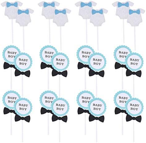 UPKOCH 24ピース誕生日ケーキトッパー赤ちゃん男の子誕生日カップケーキピックトッパーベビーシャワーケーキ装飾用男の子誕生日ベビーシャワーパーティー用品