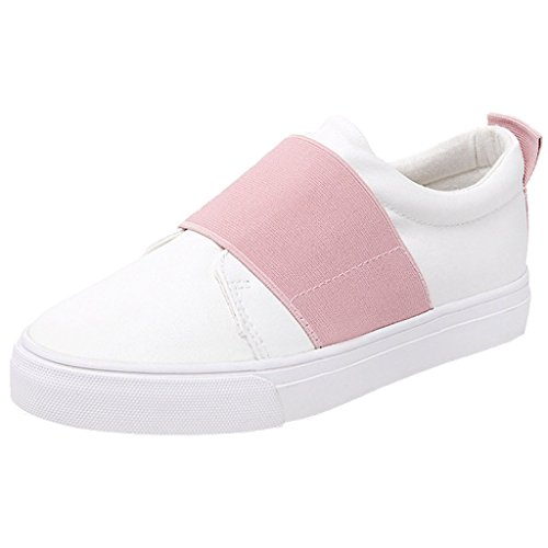 Minetom Women Casual Outdoor Loafer Shoes Flat Slip-on Shoes Candy Colored Patchwork Sneakers Pink swvTtv