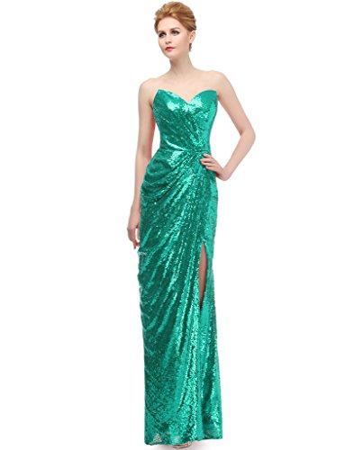 jydress Mujer Corazones sin tirantes lentejuelas Formal Fiesta Novia y de novia Vestidos de Fiesta 2016 Verde