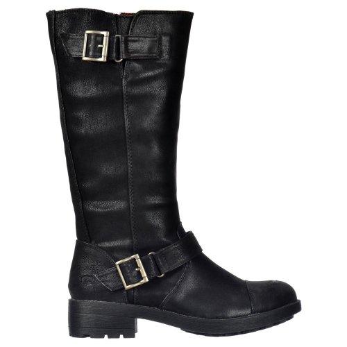 - Rocket Dog Women's Terry Vintage Worn / Bromley Flat Mid Calf High Biker Boots - Brown, Black Vintage or Bromley UK5 - EU38 - US7 - AU6 Black