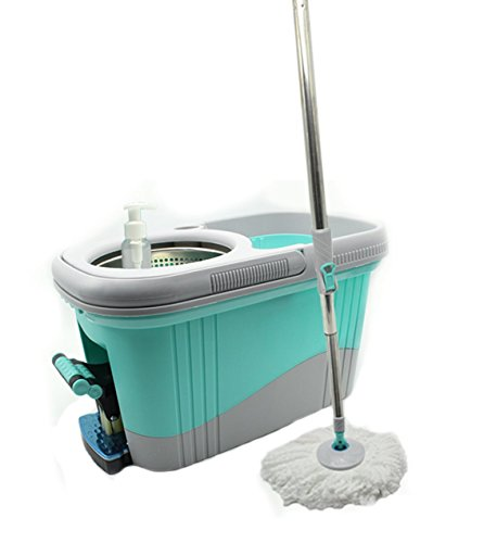 KP Solutions Spin Mop Bucket Wringer | Durable Stainless Steel Spin Dry Bucket & Telescopic Handle | Soft Washable Absorbent Microfiber Heads | Build In Soap Dispenser & Easy Foot Pedal Mop Rotation