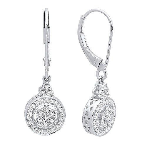 Diamond Silver Cluster Earrings (Dazzlingrock Collection 0.15 Carat (ctw) Round Cut White Diamond Ladies Cluster Style Drop Earrings, Sterling Silver)