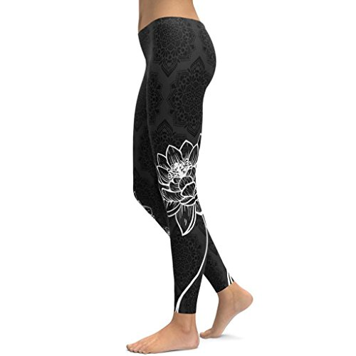 Lotus Print Workout Leggings, Women's Power Flex Fitness Yoga Pants Running Gym Stretch Sports Pants by E-Scenery (Black, - Lotus Black Clothing