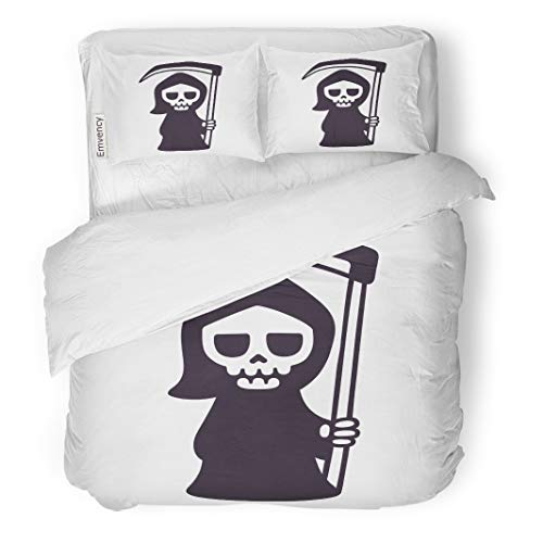 Tarolo Bedding Duvet Cover Set Character Cute Death Scythe Black and White Drawing Cartoon Grim Reaper Clip Cloak 3 Piece Twin 68