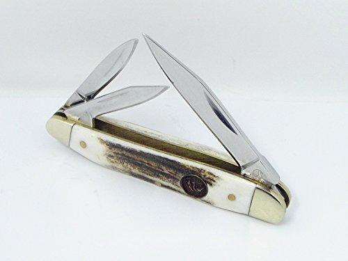 Deer Stag Handle German Hen & Rooster H&R Pocket Knife Whittler 203-DS Three (3 Blade Whittler Knife)