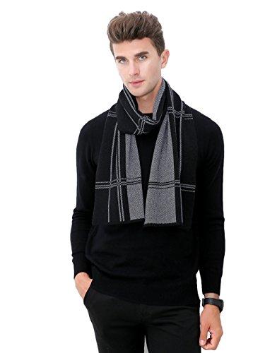 RIONA Mens Australian Merino Wool Plaid Knitted Scarf - Soft Warm Gentleman Neckwear with Gift Box