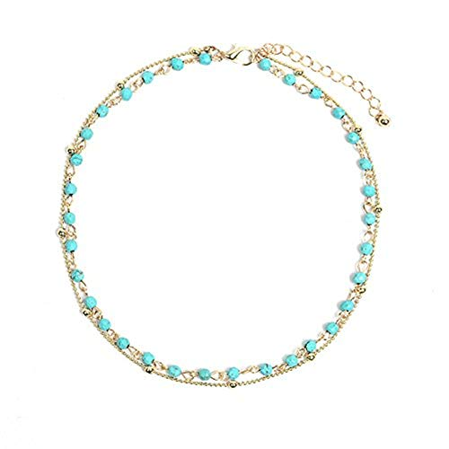 Artilady Layer Opal Choker Necklace for Women ¡­ (Gold Turquoise)