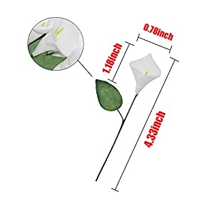 HZOnline Artificial Mini Calla Lily Flower Heads, Fake Floral Bouquet Head for Crafts Scrapbooking Garden Wedding DIY Making Bridal Garland Hair Clips Headbands Decoration (144pcs White) 2