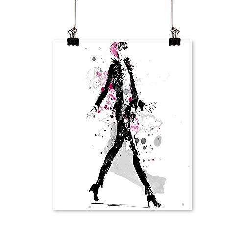 - Artwork for Home DecorationsStylish Sexy Woman Model on Catwalk Runway in Vintage Clothes Design Black Pink Home Decor Wall Art,12