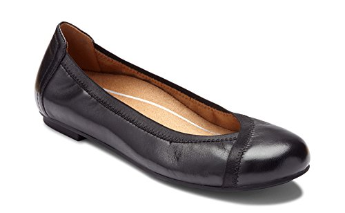 Vionic Women's Spark Caroll Ballet Flat - Ladies Dress Casual Shoes with Concealed Orthotic Support Black 8 M US