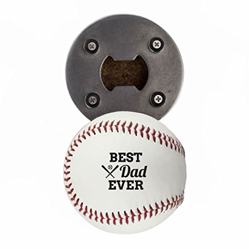 Baseball Bottle Cap (Father's Day Bottle Opener, Made from a real Baseball, Best Dad Ever, Cap Catcher, Fridge Magnet)
