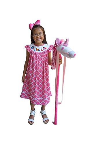 Hand Smocked Girls Dress - Dana Kids Little Girls Back to School Hand Smocked Dress with Apple, Book,Owl, Scissors (7)