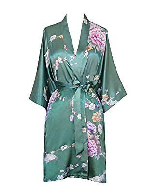 Old Shanghai Women's Kimono Short Robe - Chrysanthemum & Crane
