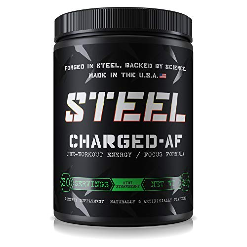 Steel Supplements Charged-AF Pre Workout Powder Energy Drink with Vitamins B6 and B12 High Intensity 30 Servings (Strawberry Kiwi) by Steel Supplements
