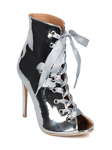 Indulge Brooklyn-1A Women Peep Toe Ribbon Lace up Stiletto Ankle Boot HE14 - Silver Metallic (Size: 9.0)