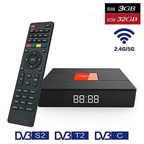 (Magicsee C400 Plus DVB T2 S2 Satellite Receiver Android 7.1 Smart TV Box S912 Octa Core 3 Ram 32 ROM Mini PC Dual Band 2.4G/5g WiFi 4K Bluetooth)