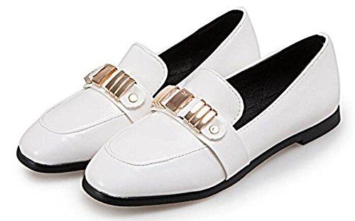 Showhow Scarpe Da Donna Alla Moda Tinta Unita Punta Larga Slip On Scarpe Con Tacco Basso Bianco