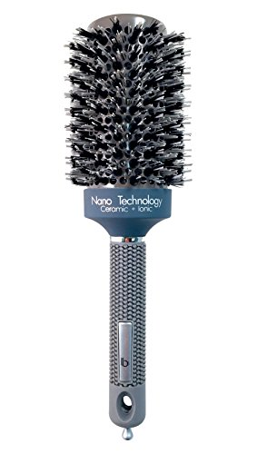 Round Ceramic Ionic Nano Technology Hair Brush by Better Beauty Products, XL/2 inch/53mm inch Barrel with Double Bristles, Natural Boar and Nylon Bristles, Professional Salon Brush, Gray Color Combo