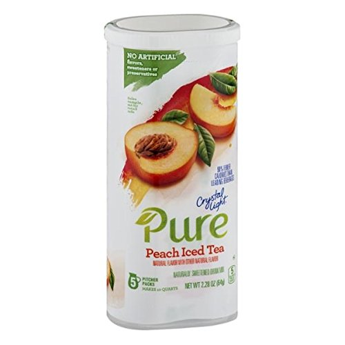 (Crystal Light Pure Peach Iced Tea Canister Packs..4 Canisters Naturally Sweetened )
