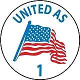 NMC HH62 2'' x 2'' PS Vinyl Label w/Legend: ''United As 1'', 12 Packs of 25 pcs