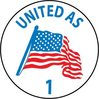 NMC HH62 2'' x 2'' PS Vinyl Label w/Legend: ''United As 1'', 12 Packs of 25 pcs