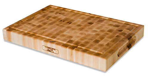 Large Wood End Grain Cutting Board With Juice Groove - 18x12x2 Reversible Maple Butcher Block Made in the USA by California Custom Millwork by California Custom Millwork