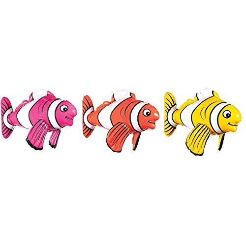 Fish Pool Costume (Amscan Inflatable Striped Fish Shape Summer Swimming Party Water Toy & Pool Decoration, Multicolor,)