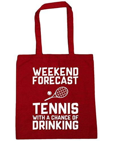 HippoWarehouse Wochenenden Forecast Tennis Mit a Chance of Trinken Einkaufstasche Fitnessstudio Strandtasche 42cm x38cm, 10 liter - Klassisch Rot, One size