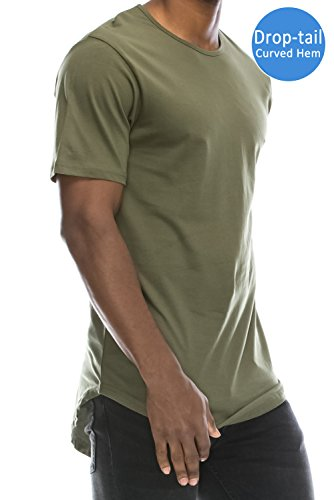 JC DISTRO Mens Hipster Hip Hop Cotton Elong Crewneck T-Shirt Militarygreen Medium by JC DISTRO