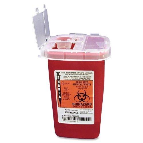Wholesale CASE of 25 - Unimed Sharps 1 Quart Phlebotomy Container w/ Lid-Phlebotomy Sharps Container W/Clear Lid, 1 Qt., Red