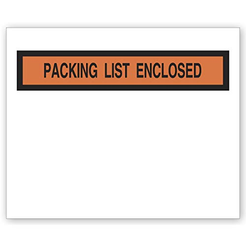 CheckSimple Clear Shipping Packing List Envelope with Adhesive Back (500 Envelopes) (Commercial 500 Envelopes)